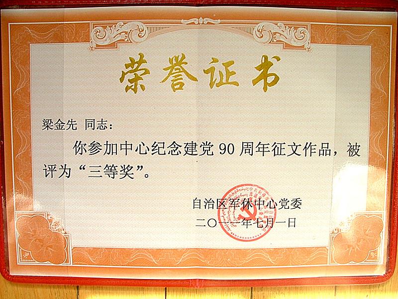 建党90周年征文获奖证书